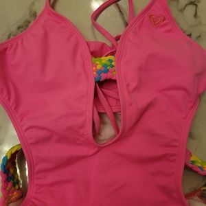 Hot pink one piece Roxy bathing suit